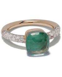 Pomellato 18kt Rose & White Gold Nudo Topaz And Diamond Petit Ring - Metallic