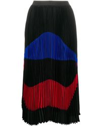 N°21 Printed Accordion Pleat Skirt - Black