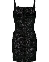 Dolce & Gabbana Front Lace-up Dress - Black