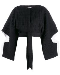 Chalayan Cropped Cutout Quilted Cotton-blend Jacket Black