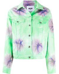 MSGM Джинсовая Куртка С Принтом Тай-дай - Зеленый
