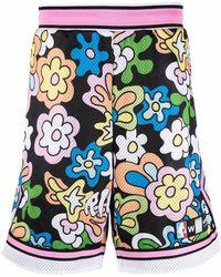 RIPNDIP Pantalones cortos de deporte con motivo floral - Negro