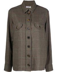 Blazé Milano Checked Button Front Shirt Jacket - Brown