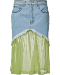 Daizy Shely Paneled Denim Skirt - Blue