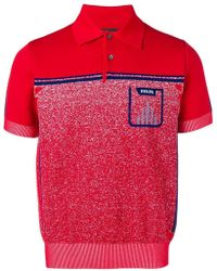 Prada - Red And Blue Mouline Polo - Lyst