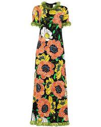 Ashish フローラル スパンコール ドレス - ブラック