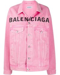 Balenciaga Embroidered Logo Denim Jacket - Pink