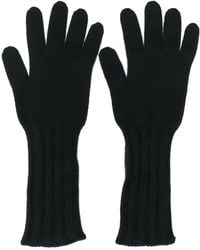 Pringle of Scotland Ribbed Scottish Gloves - Black