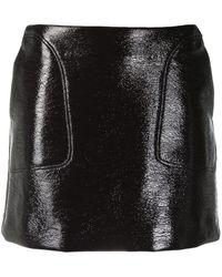 Courreges Logo Faux Leather Mini Skirt - Brown
