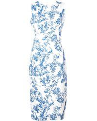 Oscar de la Renta Floral Print Pencil Dress - Blue