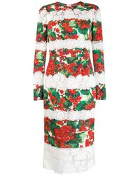 Dolce & Gabbana - プリント レースドレス - Lyst