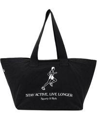 Sporty & Rich Bolso shopper con logo active - Negro