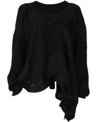 Issey Miyake パッチワーク セーター - ブラック