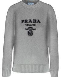 Prada インターシャ ロゴ セーター - グレー