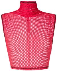 À La Garçonne Mesh Cropped Top - Red
