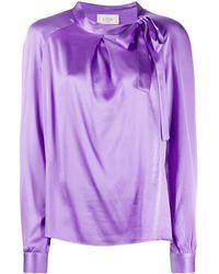 Altea Атласная Блузка С Бантом - Пурпурный