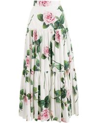 Dolce & Gabbana - ローズプリント スカート - Lyst
