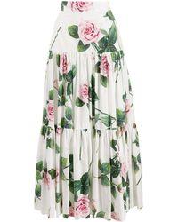 Dolce & Gabbana ローズプリント スカート - ホワイト