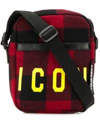 DSquared² Icon Plaid Messenger Bad - Red