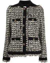 Ports 1961 Collarless Tweed Jacket - Black