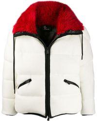 3 MONCLER GRENOBLE Faux Fur Trim Padded Jacket - White
