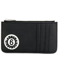 MM6 by Maison Martin Margiela Logo Patch Zip Purse - Black