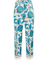 Gucci Floral Print Straight Trousers - Blauw