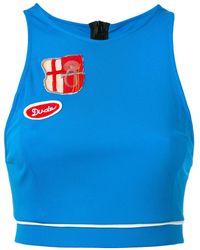 Mr & Mrs Italy パッチ装飾 クロップドタンクトップ - ブルー