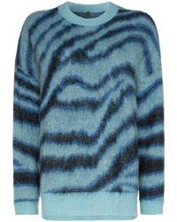 R13 ゼブラインターシャ セーター - ブルー