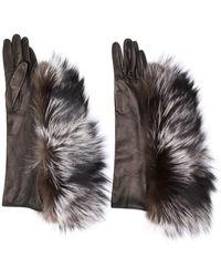 Maison Margiela Fur Trimmed Gloves - Brown