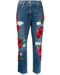 Blumarine Ricamo Rose Embroidered Jeans - Blue