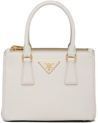 Prada Bolso shopper Galleria Saffiano mini - Blanco