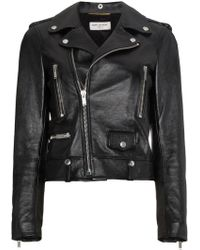 Saint Laurent Cropped biker jacket - Noir