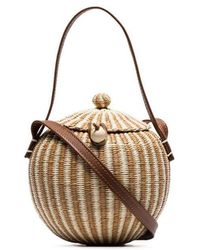 Sensi Studio - Brown Coco Straw And Leather Bag - Lyst