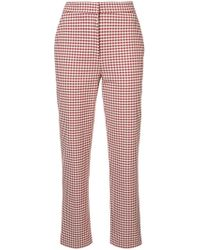 Brock Collection Gingham Cropped Trousers - Red