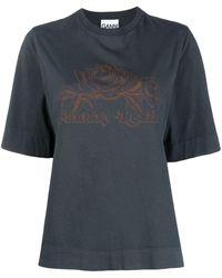 Ganni Rose-print T-shirt - Multicolour