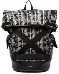 Balmain Monogram Pattern Backpack - Black