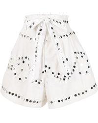 Juliet Dunn Bermudas con cintura paperbag y detalle de espejo - Blanco