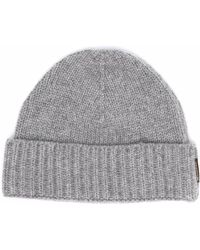 Moorer Cashmere Knitted Beanie - Grey