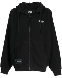Izzue Embroidered Slogan Shearling Hoodie - Black