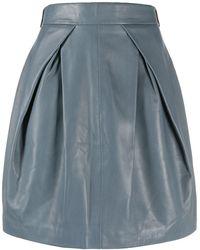 Alberta Ferretti Pleat Front Leather Skirt - Grey