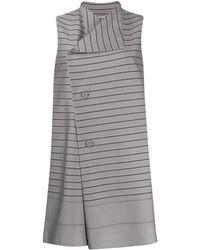 Issey Miyake Striped Long Vest - Gray