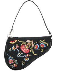 Dior Bolso saddle de mano con motivo floral - Negro