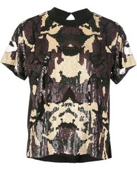 Nicole Miller Camouflage Sequin T-shirt - Black