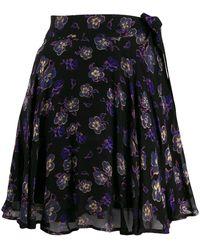 Ganni Floral wrap mini skirt - Nero