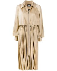 Karl Lagerfeld Technical Pleated Trench - Brown