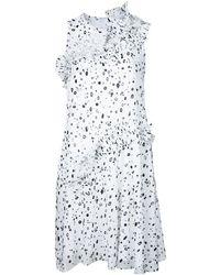 Carven プリーツラッフル プリントドレス - ホワイト