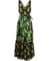 Twin Set Pineapple Print Dress - Black