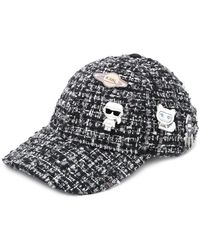 Karl Lagerfeld - Badge Embellished Tweed Cap - Lyst