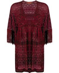 Missoni Vestido de playa transparente con cuello en V - Rojo
